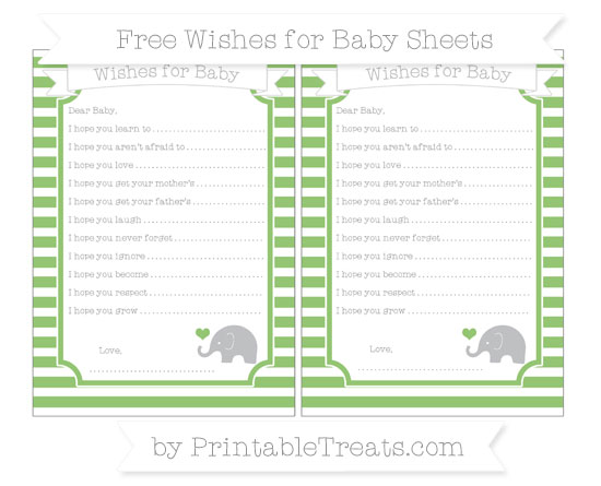 Free Pistachio Green Horizontal Striped Baby Elephant Wishes for Baby Sheets