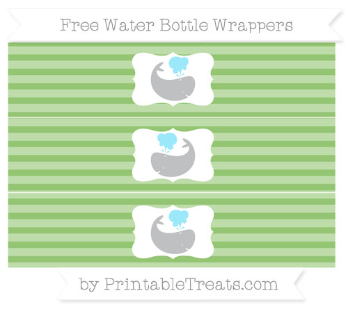 Free Pistachio Green Horizontal Striped Whale Water Bottle Wrappers