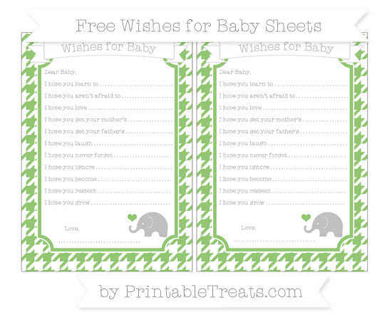 Free Pistachio Green Houndstooth Pattern Baby Elephant Wishes for Baby Sheets