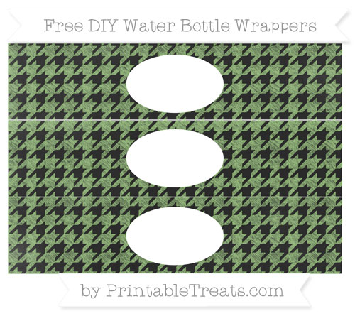 Free Pistachio Green Houndstooth Pattern Chalk Style DIY Water Bottle Wrappers
