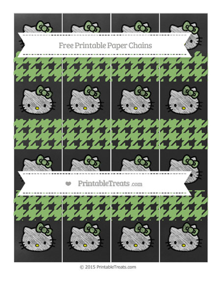 Free Pistachio Green Houndstooth Pattern Chalk Style Hello Kitty Paper Chains