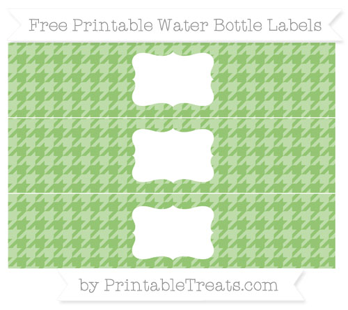 Free Pistachio Green Houndstooth Pattern Water Bottle Labels