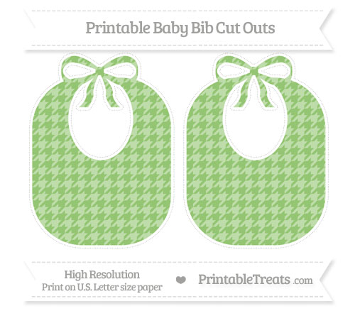 Free Pistachio Green Houndstooth Pattern Large Baby Bib Cut Outs