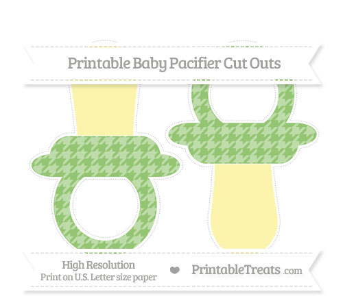 Free Pistachio Green Houndstooth Pattern Large Baby Pacifier Cut Outs