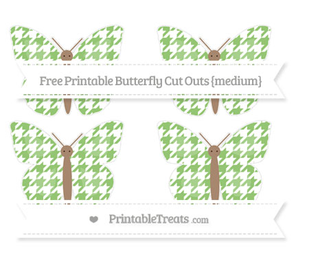 Free Pistachio Green Houndstooth Pattern Medium Butterfly Cut Outs