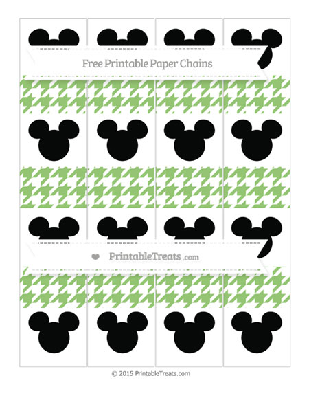 Free Pistachio Green Houndstooth Pattern Mickey Mouse Paper Chains