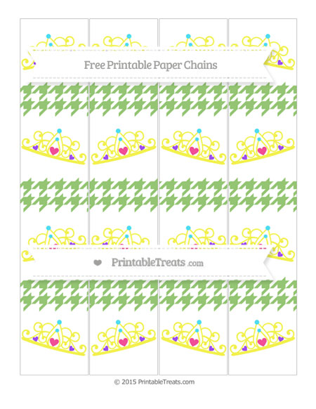 Free Pistachio Green Houndstooth Pattern Princess Tiara Paper Chains