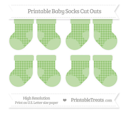 Free Pistachio Green Houndstooth Pattern Small Baby Socks Cut Outs
