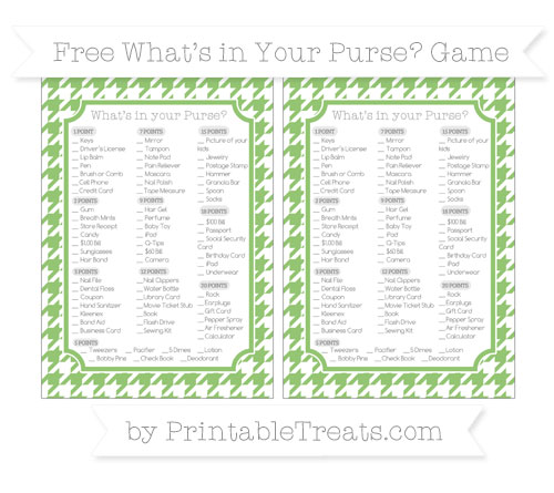 Free Pistachio Green Houndstooth Pattern What's in Your Purse Baby Shower Game