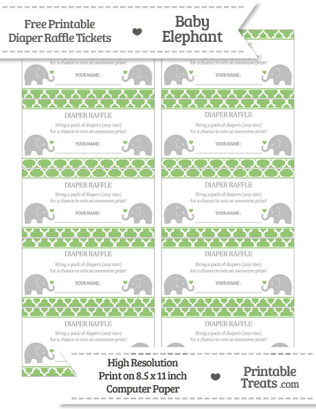 Free Pistachio Green Moroccan Tile Baby Elephant Diaper Raffle Tickets