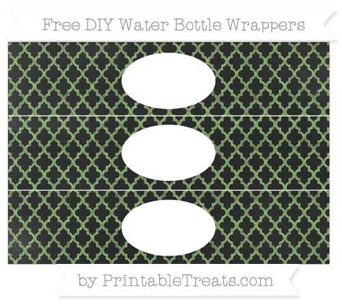 Free Pistachio Green Moroccan Tile Chalk Style DIY Water Bottle Wrappers