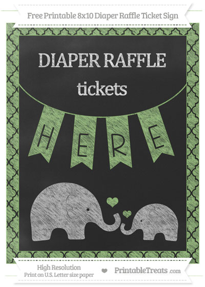 Free Pistachio Green Moroccan Tile Chalk Style Elephant 8x10 Diaper Raffle Ticket Sign
