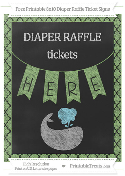 Free Pistachio Green Moroccan Tile Chalk Style Whale 8x10 Diaper Raffle Ticket Sign