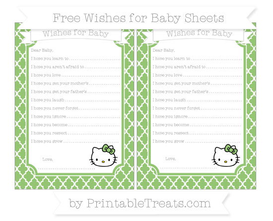 Free Pistachio Green Moroccan Tile Hello Kitty Wishes for Baby Sheets