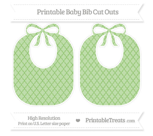 Free Pistachio Green Moroccan Tile Large Baby Bib Cut Outs