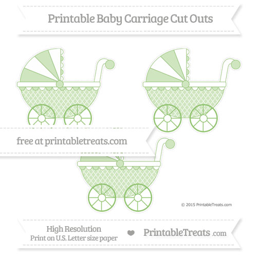 Free Pistachio Green Moroccan Tile Medium Baby Carriage Cut Outs
