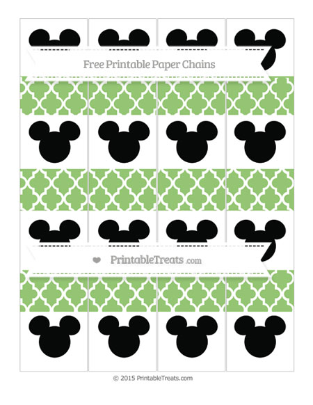 Free Pistachio Green Moroccan Tile Mickey Mouse Paper Chains