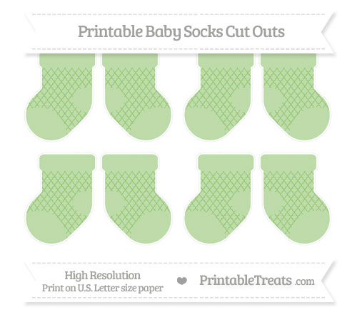 Free Pistachio Green Moroccan Tile Small Baby Socks Cut Outs