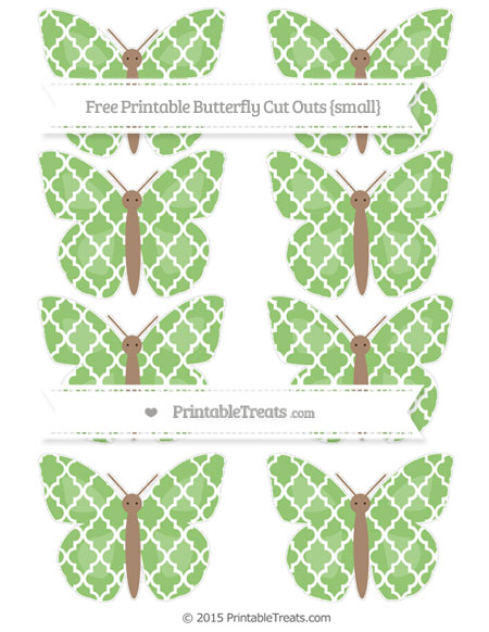 Free Pistachio Green Moroccan Tile Small Butterfly Cut Outs