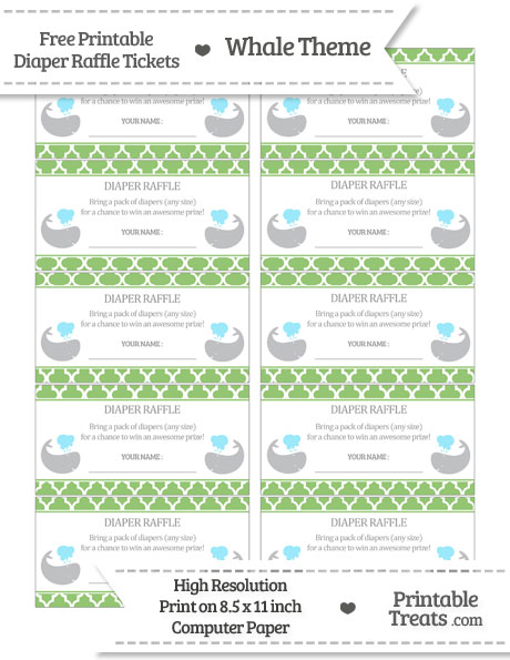 Free Pistachio Green Moroccan Tile Whale Diaper Raffle Tickets
