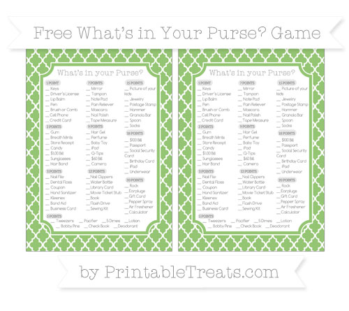 Free Pistachio Green Moroccan Tile What's in Your Purse Baby Shower Game
