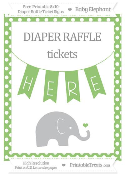 Free Pistachio Green Polka Dot Baby Elephant 8x10 Diaper Raffle Ticket Sign