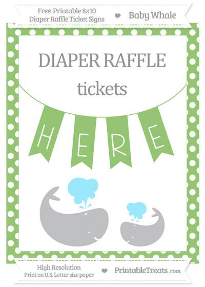 Free Pistachio Green Polka Dot Baby Whale 8x10 Diaper Raffle Ticket Sign