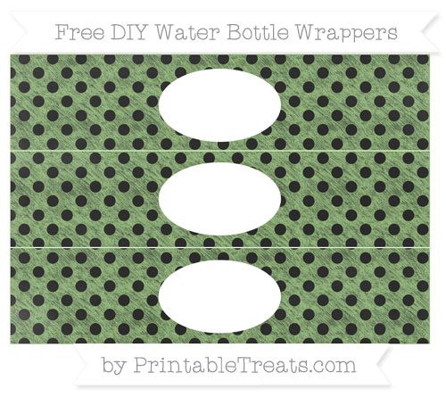 Free Pistachio Green Polka Dot Chalk Style DIY Water Bottle Wrappers