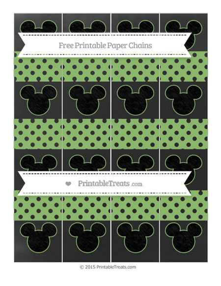 Free Pistachio Green Polka Dot Chalk Style Mickey Mouse Paper Chains