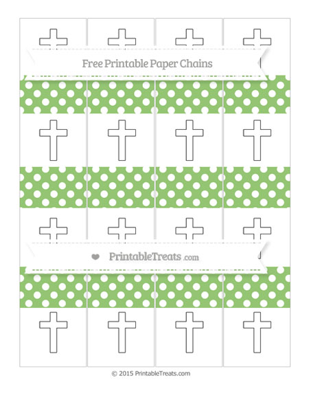 Free Pistachio Green Polka Dot Cross Paper Chains