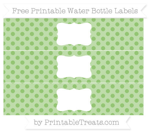 Free Pistachio Green Polka Dot Water Bottle Labels