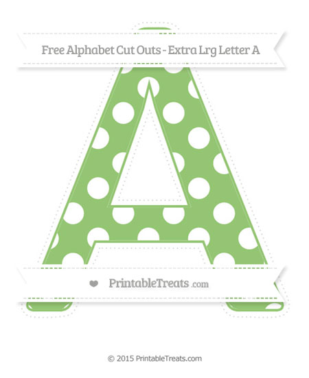 Free Pistachio Green Polka Dot Extra Large Capital Letter A Cut Outs