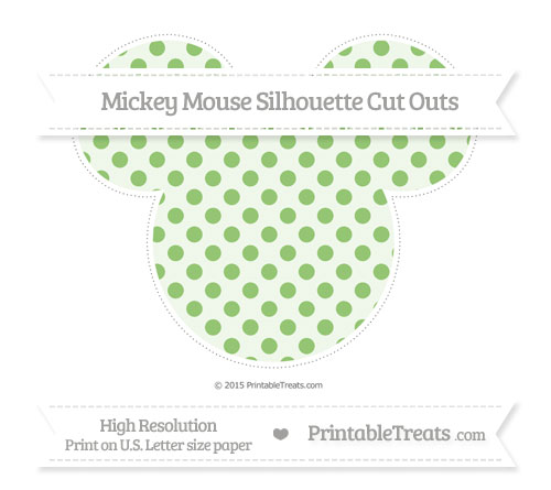 Free Pistachio Green Polka Dot Extra Large Mickey Mouse Silhouette Cut Outs