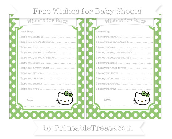 Free Pistachio Green Polka Dot Hello Kitty Wishes for Baby Sheets