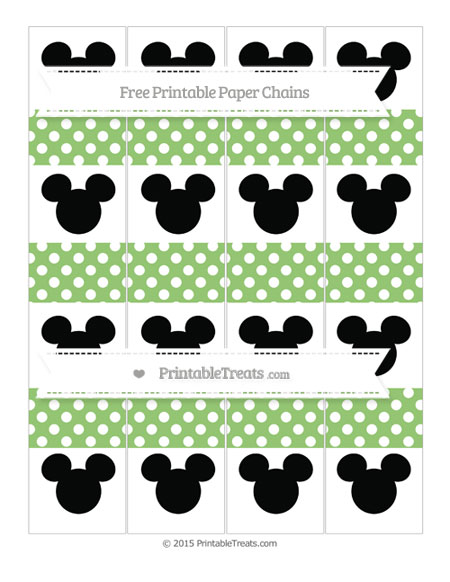 Free Pistachio Green Polka Dot Mickey Mouse Paper Chains