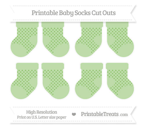 Free Pistachio Green Polka Dot Small Baby Socks Cut Outs