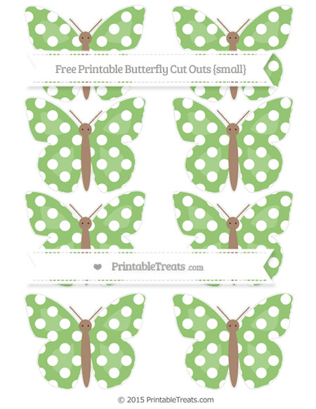 Free Pistachio Green Polka Dot Small Butterfly Cut Outs