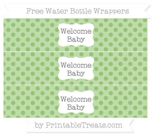 Free Pistachio Green Polka Dot Welcome Baby Water Bottle Wrappers