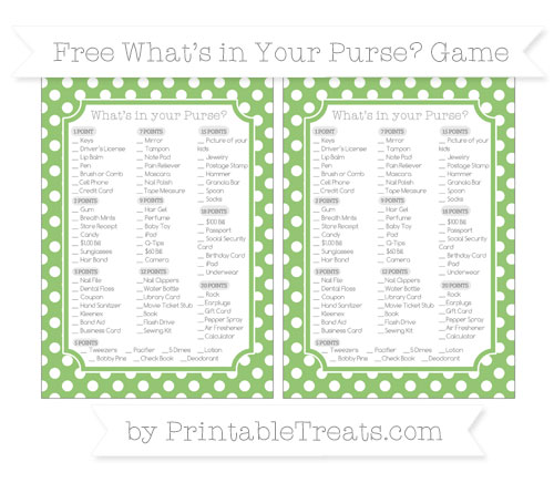 Free Pistachio Green Polka Dot What's in Your Purse Baby Shower Game