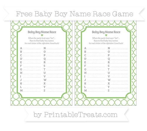 Free Pistachio Green Quatrefoil Pattern Baby Boy Name Race Game