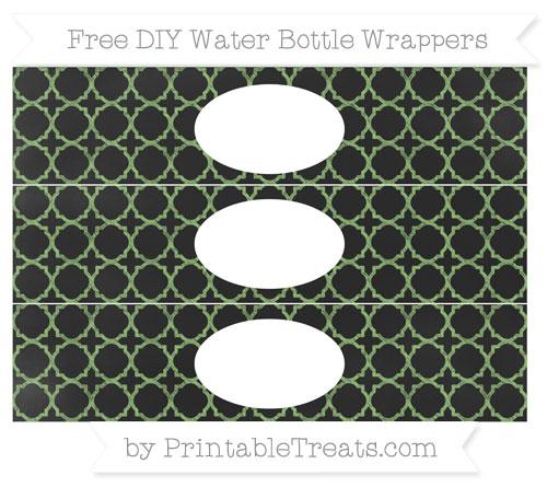 Free Pistachio Green Quatrefoil Pattern Chalk Style DIY Water Bottle Wrappers