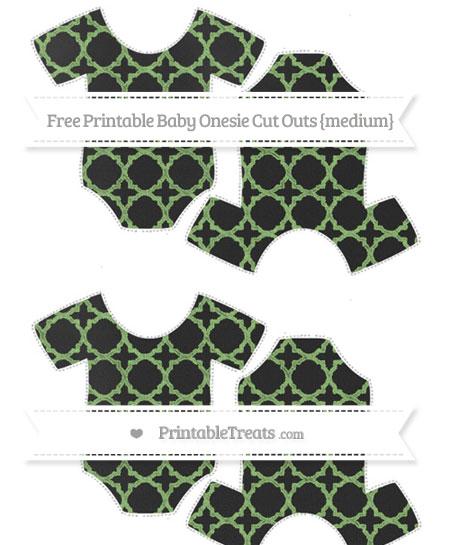 Free Pistachio Green Quatrefoil Pattern Chalk Style Medium Baby Onesie Cut Outs