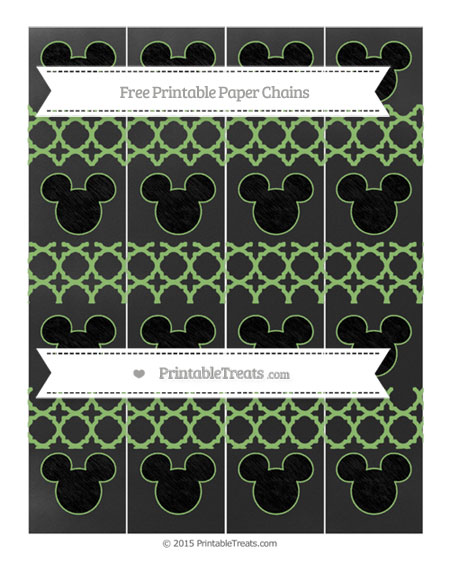 Free Pistachio Green Quatrefoil Pattern Chalk Style Mickey Mouse Paper Chains