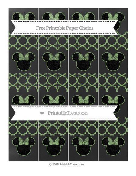 Free Pistachio Green Quatrefoil Pattern Chalk Style Minnie Mouse Paper Chains