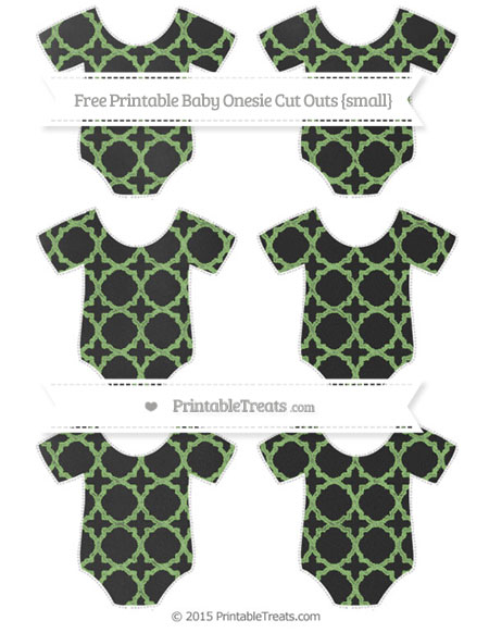 Free Pistachio Green Quatrefoil Pattern Chalk Style Small Baby Onesie Cut Outs