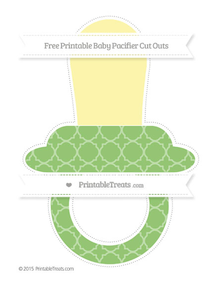 Free Pistachio Green Quatrefoil Pattern Extra Large Baby Pacifier Cut Outs