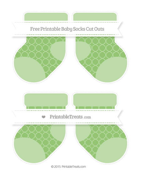 Free Pistachio Green Quatrefoil Pattern Medium Baby Socks Cut Outs