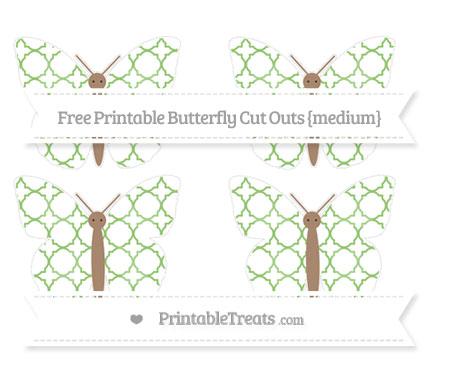 Free Pistachio Green Quatrefoil Pattern Medium Butterfly Cut Outs