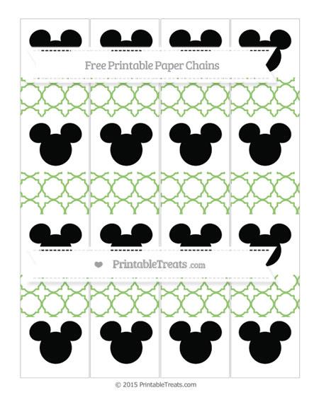 Free Pistachio Green Quatrefoil Pattern Mickey Mouse Paper Chains