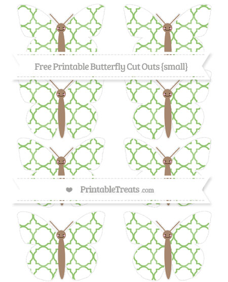 Free Pistachio Green Quatrefoil Pattern Small Smiley Butterfly Cut Outs